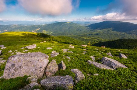 boulders on grassy hill in summer. lovely nature scenery under the cloudy sky in Carpathian mountains, Ukraine Stock Photo
