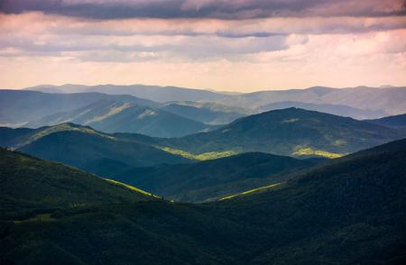 beboste glooiende heuvels van de Karpaten. prachtige natuur landschap op een bewolkte zomerdag