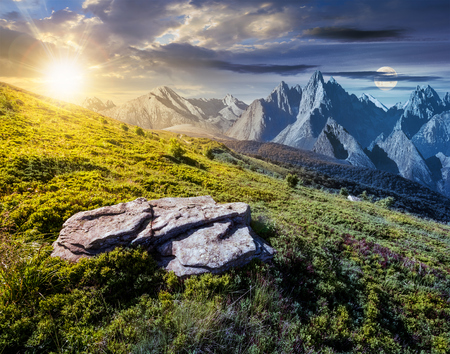 time change concept over the composite landscape with meadow in rocky mountains. beautiful unrealistic landscape in summertime with sun and moon