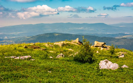 edge of the mountain hill with boulders. lovely summertime scenery Stock Photo