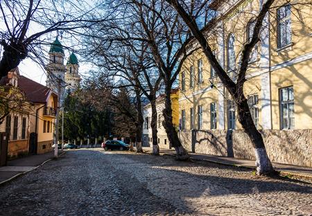 晴れた春の日の旧市街の通り。石畳の道、美しい建築物、遠くに古い大聖堂