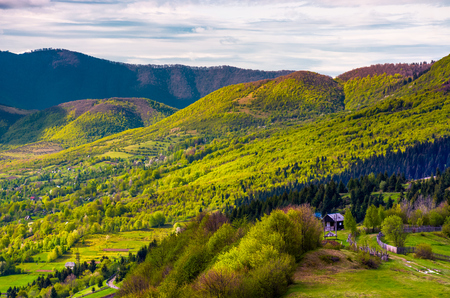 forested hills of Carpathian mountains in spring. lovely nature scenery with village in valley Stock Photo