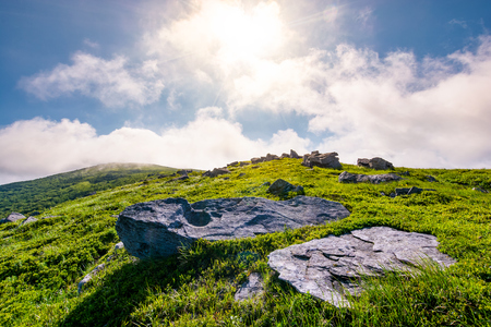 rocky formation on grassy hillside. beautiful scenery of Runa mountain in summertime. location Carpathian mountains, Ukraine Stock Photo