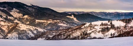 冬のパノラマ雪の森林の丘。遠くに雪のピークを持つ山の尾根と美しい風景