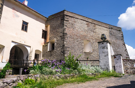 Mukachevo, Ukraine - MAY 25, 2008: entrance with bridge of the Palanok Castle. Old fortification now serves as the museum and is popular tourist landmark Editorial