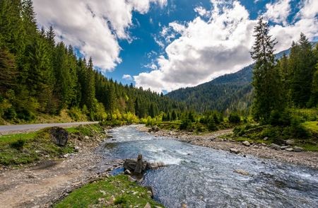 mountain river in springtime. beautiful scenery with spruce forest on a rocky shore. camping place and wooden bridge in the distance. Stock Photo