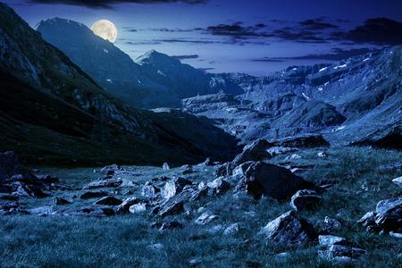 mooi landschap van Transfagarasan-weg in vallei bij nacht in volle maanlicht. rotsen op met gras begroeide weide en hellingen. helft van de vallei in de schaduw van bergrug