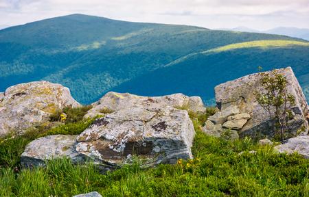 ポロニナ・ルナの芝生の斜面に巨大な岩。ゴージャスな雲景を持つカルパチア山脈の美しい夏の風景