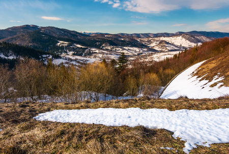Winter landscape of Uzhansky National Park. beautiful scenery in mountains on in fine weather warm day. spots of snow on slopes with weathered grass.