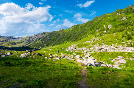 beautiful valley of Fagaras mountains. small brook flow among the rocks. grassy slopes with huge boulders Stock Photo