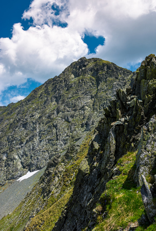 rocky cliffs of Fagaras mountains in summertime. beautiful nature scenery on high altitude Stock Photo - 96798130