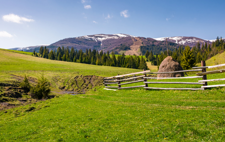 beautiful rural scenery in springtime. wooden fence and haystack on a grassy hillside at the foot of Borzhava mountain ridge with snowy tops. Stock Photo - 97521416