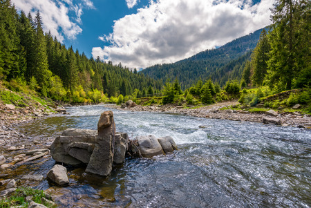 boulders on cascade of the forest river. beautiful landscape in mountains on a bright day. lovely time spent while travel Carpathians Foto de archivo - 97521444