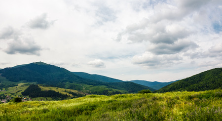 grassy meadow on a hump in mountains. lovely summer landscape on an overcast day Stock Photo