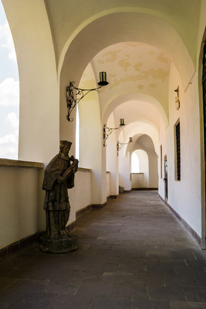 arcade of Palanok Castle inner courtyard. Old fortification now serves as the museum and is popular tourist landmark