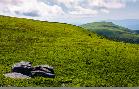 grassy meadow with peak in a distance. huge rock on hillside. lovely summer landscape in mountains Stock Photo