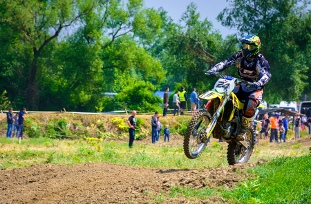 Uzhgorod, Ukraine - May 21, 2017: Dirt Bike Jumping. TransCarpathian regional Motocross Championship Stock Photo - 98058793