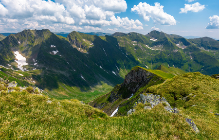 mountain ridge observed from the opposite cliff. gorgeous summer landscape in Fagarasan mountains of Romania 版權商用圖片