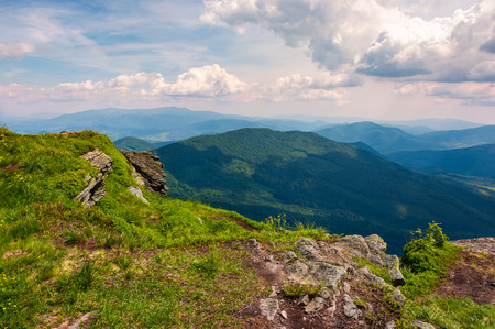 view from the cliff in to the valley. lovely summer landscape of Carpathian mountains Stock fotó - 98141311