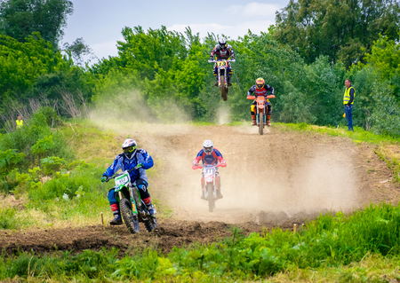 Uzhgorod, Ukraine - May 21, 2017: Extreme enduro MOTO SPORT Rider in the action. TransCarpathian regional Motocross Championship