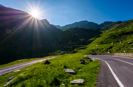 TransFagarasan road in Romania mounatins. lovely transportation background in summer time Stock Photo