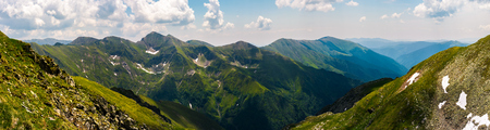 gorgeous panorama of Fararas mountains. lovely place in Romania, popular destination for hiking and other outdoor activities Stock Photo