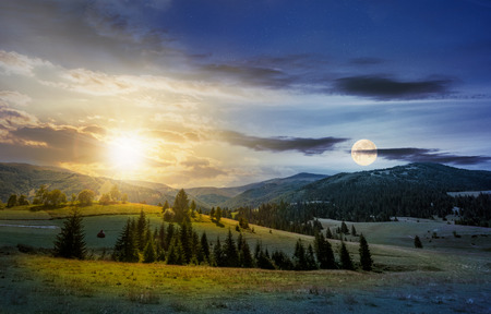 time change over the countryside summer landscape. spruce trees on a rolling grassy hills at the foot of Borzhava mountain ridge. Fine weather with some clouds on a blue sky with sun and full moon