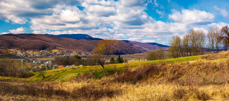 panorama of mountainous rural area in springtime. lovely countryside on a cloudy day. leafless forest over the grassy meadow and village in the distance at the foot of the mountain Stock Photo - 98405401