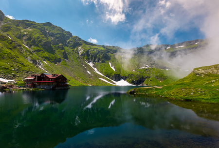 beautiful landscape of Balea Lake. popular destination for tourists in Fagaras mountains, Romania