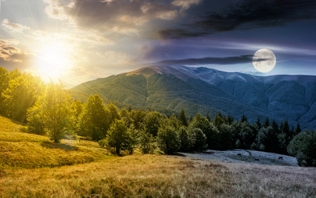 time change concept over the beech forest on grassy meadows in mountains. beautiful Landscape at the foot of Carpathian mountain Apetska with sun and moon Stock Photo