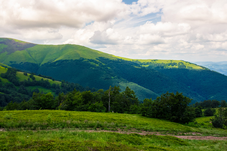 beautiful green hills of Borzhava mountain ridge. lovely landscape on a cloudy day. foot path across the meadow Stock Photo