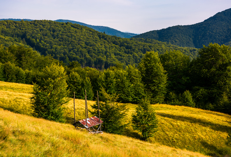 hayshed near the forest in mountains. beautiful summer scenery in evening.