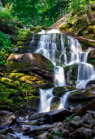 Carpathian waterfall Shypot in the morning. beautiful nature scenery. popular tourist attraction Stock Photo - 99265234