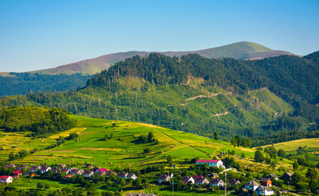 rural area in mountains at sunset. lovely summer landscape of Volovets town, Ukraine. mountain Velykyi Verkh is seen in the far distance
