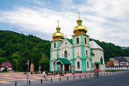 Rakhiv, Ukraine - JUL 21, 2012: The Eastern Orthodox Church of the holy spirit. beautiful scenery in Carpathian mountains.