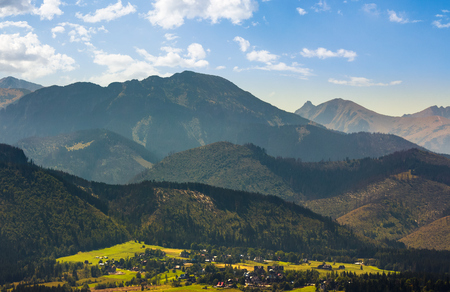 village Zakopane in High Tatra Mountains. beautiful landscape in summertime. popular tourist destination Stock Photo