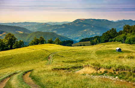 truck path down the grassy hill. wooden shed on the hillside. beautiful landscape with Krasna mountain ridge in the distance in evening light. Carpathian mountains, Ukraine