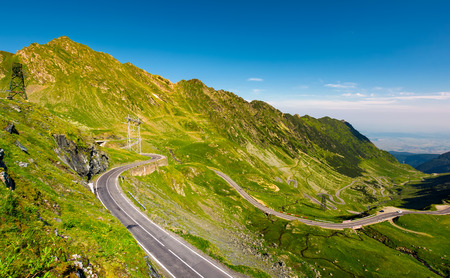 Transfagarasan road serpentine in the valley. beautiful transportation scenery in mountains of Romania. location southern Carpathians Stock Photo