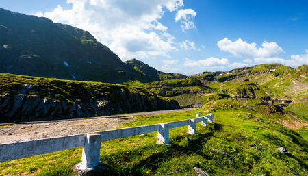 Transfagarasan road up hill to the mountain top. beautiful transportation scenery in mountains of Romania. location southern Carpathians Stock Photo
