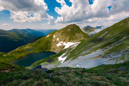 Saua Caprei peak of Fagarasan mountains. gorgeous summer landscape of Southern Carpathians in Romania Stock Photo