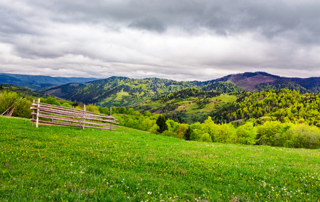 lovely rural scenery of Carpathians. beautiful landscape with grassy rural fields on hills in springtime. overcast sky over the mountains Stock Photo - 99969347