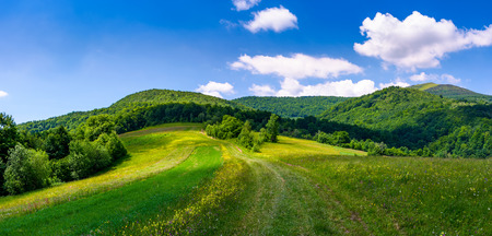 beautiful panorama of mountainous countryside. lovely summer scenery in fine weather condition. rural fields at the edge of a forest on hillside. road down the hill in to the distance Stock Photo