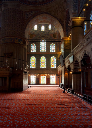 Istanbul, Turkey - 18 AUG, 2015: interior of Blue Mosque in Istanbul. beautiful stained-glass window. popular tourist place Editorial