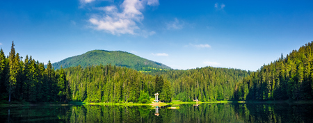 panorama of Synevyr lake on summer morning. gorgeous scenery with spruce forest reflecting on a water surface. some cloud formation on a blue sky over the distant mountain. pleasing and fresh forenoon Stock Photo