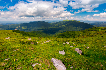 Carpathian alps with huge boulders on hillsides. beautiful summer landscape on overcast day. Location Polonina Runa, Ukraine Stock Photo