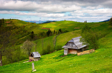 woodshed on a grassy hillside on a cloudy day. village outskirts with rural fields in mountainous area on a cloudy springtime day Stock Photo