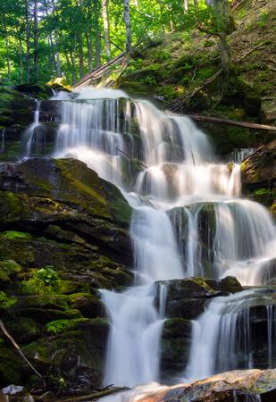 森の中の大きな滝のカスケード。日の出の美しい夏の風景。水の上の光のビームが飛び散る。自然の力と美しさのコンセプト