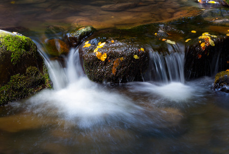 water cascade among the rocks. beautiful nature background with yellow leaves on wet stones Stock Photo
