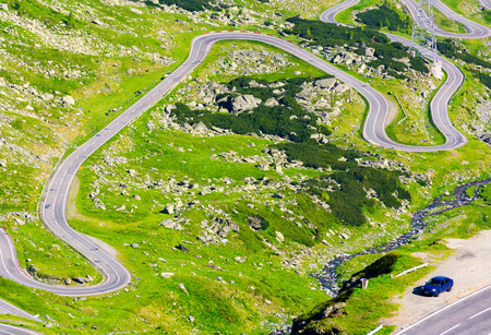 transfagarasan route view from above. gorgeous tourist attraction of carpathian mountains in romania Stock Photo
