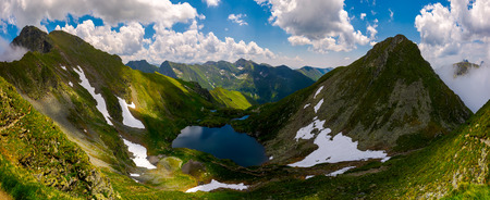 Panorama of Fagaras mountains of Romania. gorgeous landscape with glacier lake Capra, view from above